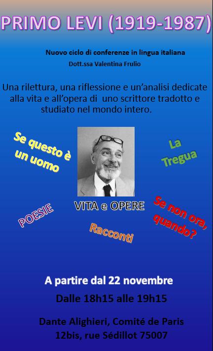 LETTERATURA ITALIANA: PRIMO LEVI (1919-1987) @ Dante Alighieri -Comité de Paris | Paris | Île-de-France | France