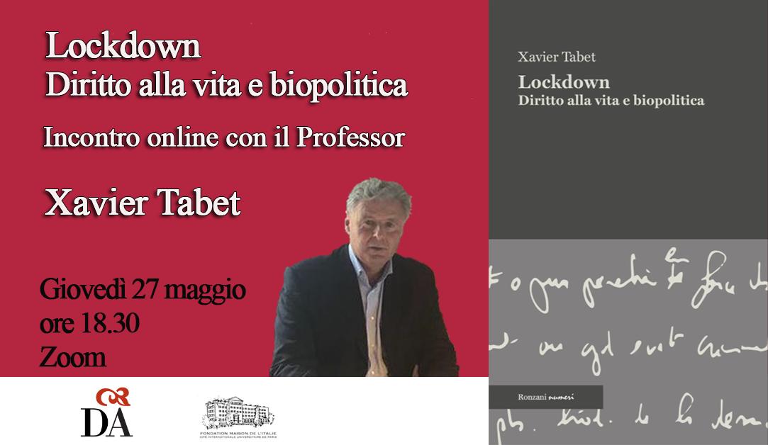 """Presentazione del libro """"Lockdown"""" in presenza dell'autore Xavier Tabet"""