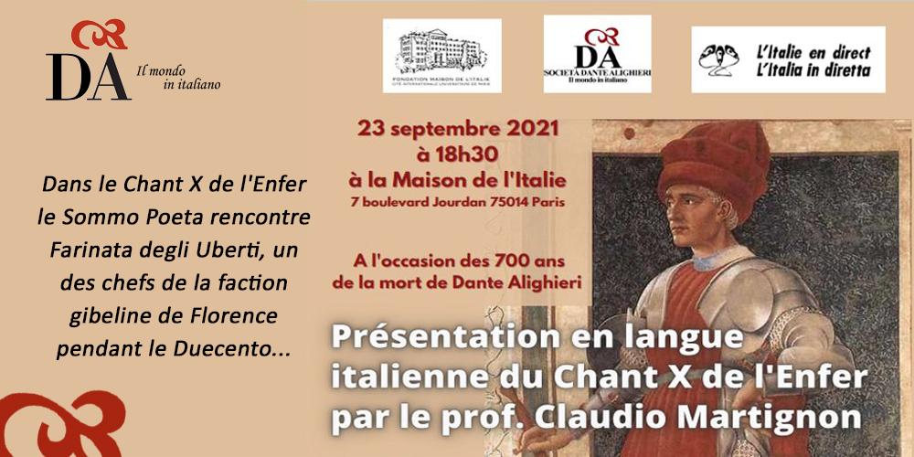 Chant X de l'Enfer de Dante avec Claudio Martignon @ Maison de l'Italie - Cité Universitaire de Paris